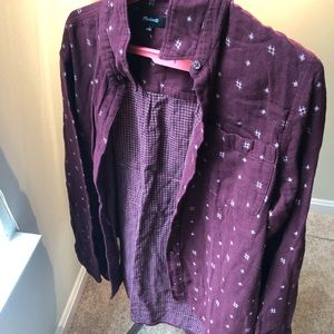 ~Madewell~ Purple Patterned Flannel Button-Down